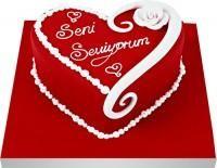 Pastacı hediye Pasta yolla  Seni seviyorum yazili kalp yas pasta